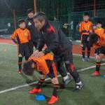文徳高校サッカー部 佐藤監督の指導の元トレーニング